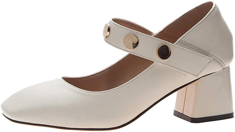 Sam Carle Women's Pump,Spring Fashion Middle Heel Slip-on Black Beige Mary Jane shoes