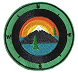 Compass & Lake - US National Parks & Monuments Vacation Souvenir Theme Embroidered Premium Patch Iron On or Sew On Biker Emblem Decorative Outdoor Indoor Gear Appliques