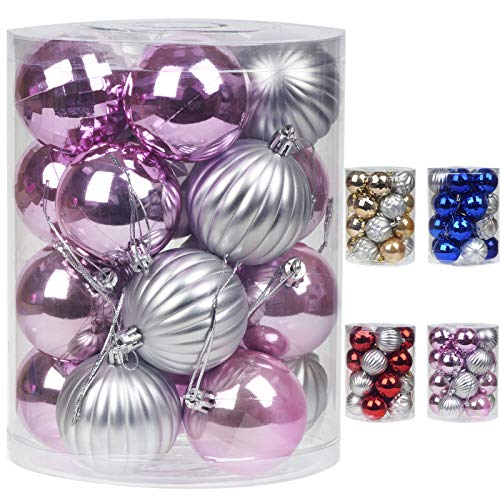 Emopeak Christmas Ball Ornaments Decorative Xmas Balls Baubles Set with Delicate Appearance Pink & Silver (Pink, 60mm/2.36'')