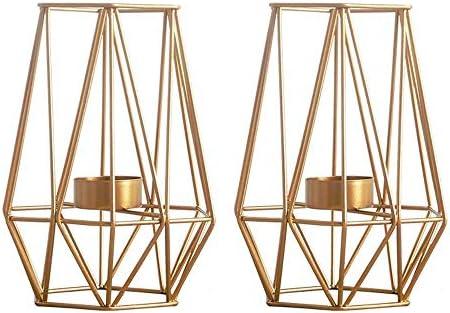 Nuptio 2 Pcs Metal Hexagon Shaped Geometric Design Tea Light Votive Candle Holders Iron Hollow product image