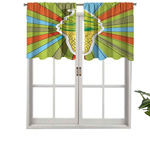 Hiiiman Window Treatment Rod Pocket Blackout Curtain Valance Hand Drawn Ice Cream on Cone with Colorful Rays, Set of 2, 42'x24' for Living Room, Short Straight Drape