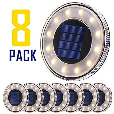 MAGGIFT 8 Pack Solar Disk Lights Outdoor, 12 LED Ground Light, IP68 Waterproof Solar Lights, In-Ground Walkway Deck for Landscape Garden Patio Pathway Lawn Yard Driveway, Warm White