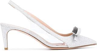 Luxury Fashion | Red Valentino Women TQ2S0C04CXAD00 Silver Leather Heels | Spring-summer 20