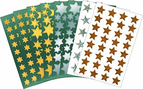 AVERY Zweckform Art. 59816 Aufkleber Weihnachten 356 Sterne (Weihnachtssticker aus Glanzfolie oder mit Glitzer-Effekt, selbstklebende Weihnachtsdeko in gold, silber, rot für Karten, Geschenke, DIY)