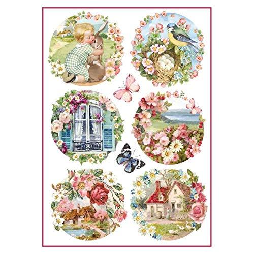 Stamperia Papel De Arroz Paisajes Florales, Multicolor, 21 X 29.7 Cm