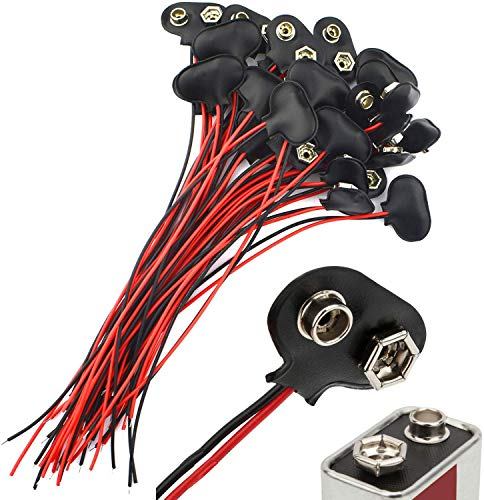 CESFONJER 30 Piezas Conector Pila, 9V Conector Clip de Bateria 9V T...