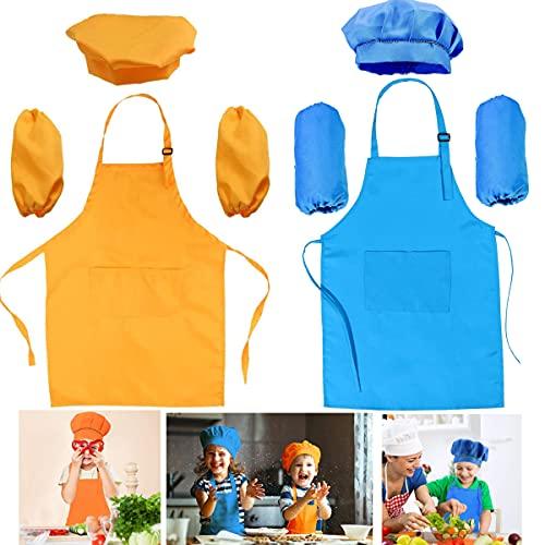 Tablier Enfant et Chapeau de Chef manches, Ajustable Tablier de Chef avec 2 Poches pour Filles Garçons, Bambin Tabliers de Cuisine Jardin pour Cuisson Peinture l artisanat(Orange et bleu, 3-6 Ans)