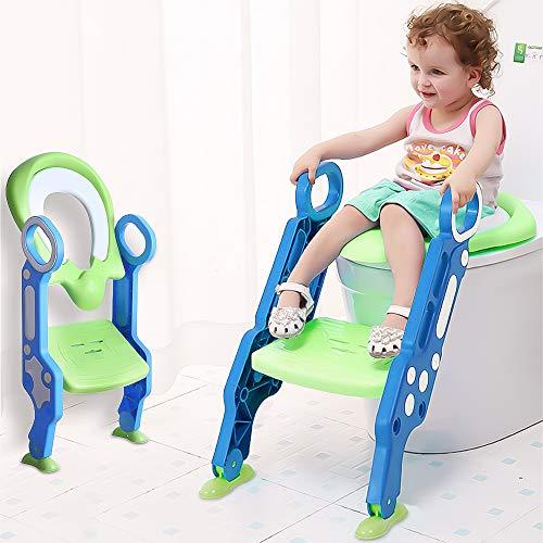 SaponinTree Asiento con Escalera para Bebés, Reductor WC niños Aseo Asiento con Escalera Plegable, Asiento de Inodoro orinal con Escalera Ajustable Asiento de Aprendizaje para 1-8 niños
