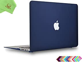MacBook Air 13 inch Case, UESWILL Smooth Soft-Touch Matte Hard Shell Case Cover for 2008-2017 MacBook Air 13 inch (Model A1466 / A1369) + Microfibre Cleaning Cloth, Navy Blue