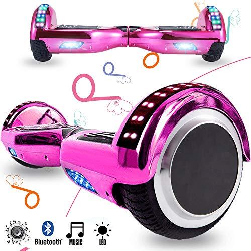 Magic Vida Skateboard Elettrico 6.5 Pollici Bluetooth Power 700W con Due Barre LED Monopattini elettrici autobilanciati di buona qualità per Bambini e Adulti(Cromo Viola)
