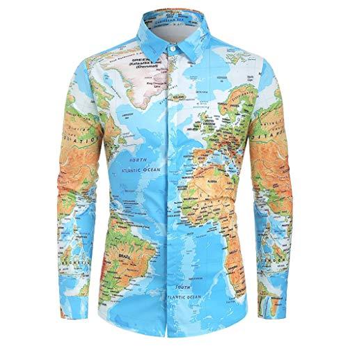 Overdose Camisas Hombre Mapa del Mundo Estampadas Manga Larga Divertidas No Plancha Originales Baratas Entalladas Retro Hippie Informal Camisetas para Hombres Blusa 2019 Nuevo Tops