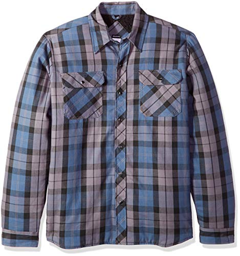 Dickies Men's Modern Fit Snap Front Shirt Jacket, Insignia Blue Charcoal Plaid, S