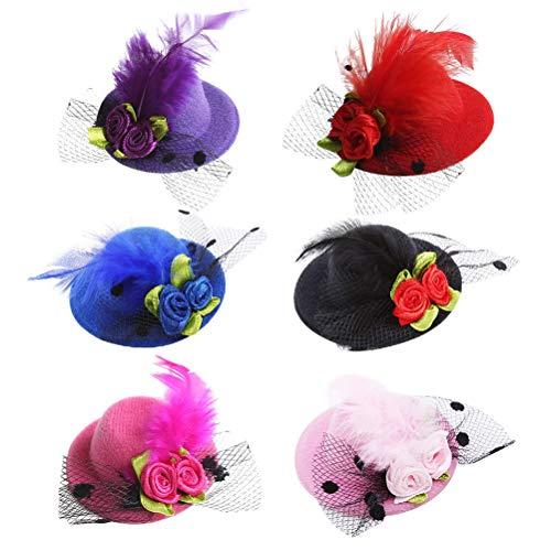 Lurrose 12pcs plume mini chapeau épingles à cheveux mini pince à cheveux fleur parti chapellerie fête coiffe pour mariage thé partyy