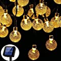 FlyCloud Solar String Lights Outdoor, 50 LED Waterproof LED Outdoor Solar Lights Crystal Ball Decorative Lights 24Ft Indoor Outdoor Fairy Lights for Garden, Patio, Yard, Christmas