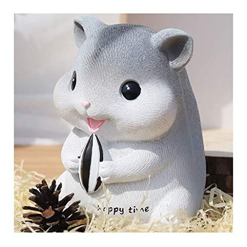 XHAEJ Resina Piggy Bank Moneda de Gran Capacidad Piggy Bank Cambiar Caja Hecho A Mano Exquisito Hamster Hamgy Bank Adulto Niños Regalo Gray
