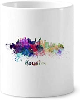 Houston America City Watercolor Toothbrush Pen Holder Mug Ceramic Stand Pencil Cup