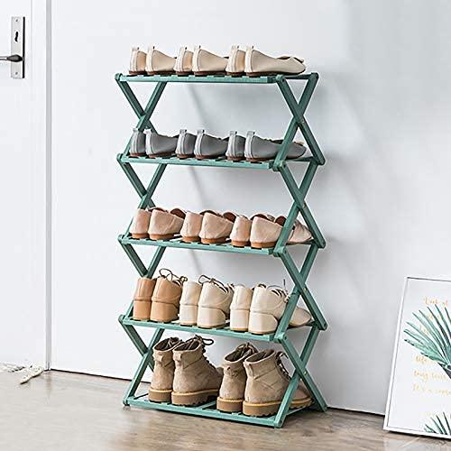 HHTX Estante Organizador de Zapatos de bambú de 5 Niveles, Plegable, portátil, Independiente, Estante de Almacenamiento de Zapatos para Entrada de Armario, Pasillo, Maceta, Verde 50x25x89cm (20x1