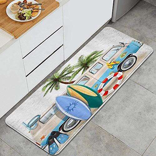 Decor del Hogar Espuma de Memoria Anti Fatiga Alfombrilla de Cocina,Fondo de decoración de equipo de buceo de tabla de surf de coche,Comodidad Oficina de Pie Alfombra Antideslizante,120 x 45cm