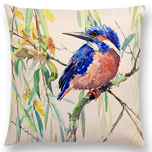 SUIBIAN Lovely Birds Flowers Flowers Cushion Cover Pillow Case