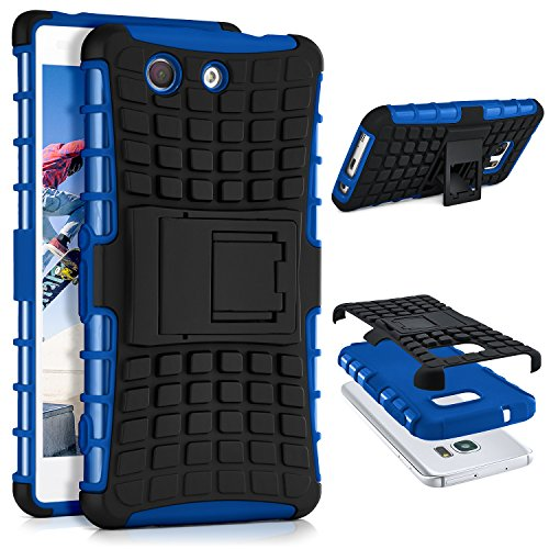 ONEFLOW® Tank Case kompatibel mit Sony Xperia Z3 Compact Outdoor Hülle | Panzer Handyhülle mit Ständer - 360 Grad Handy Schutz aus Silikon & Kunststoff, Blau
