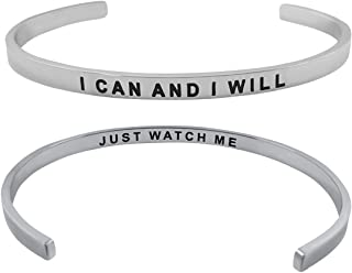 I Can and I Will'' Double Sided Inspirational Quote Cuff Bracelet for Women and Teen Girls