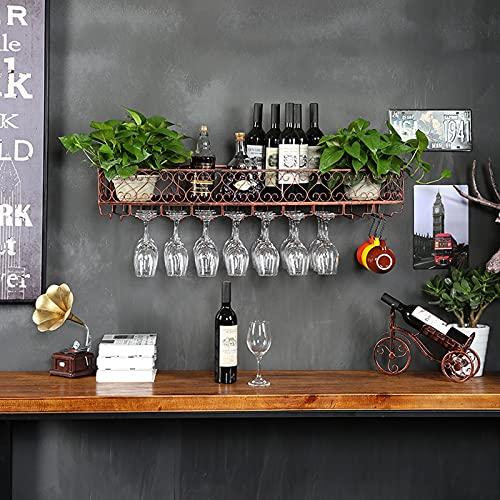 botellero Vino Botellero para Vinos para Mostrador de Bar, Gabinete de Vino de Decoración de Bar, Soporte de Vino de Copa Al Revés para Restaurante, Gabinete de Pared con Estante de Pared