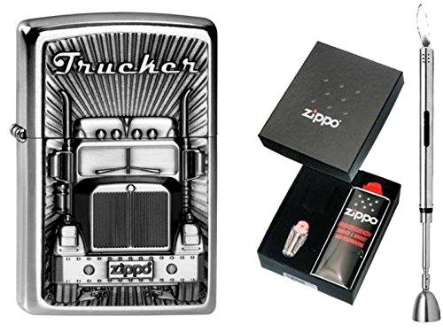 Zippo Feuerzeug Trucker Emblem & Geschenkset Wählbar + R-S Stabfeuerzeug Chrome (Geschenkset Zippo)