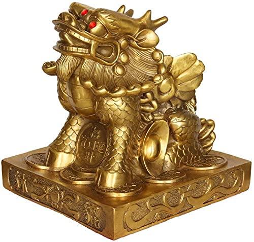Estatua de latón Pi Yao de FengShui, Figura de Buena Suerte para la Suerte de la Riqueza, colección de estatuas de decoración del hogar de Prosperidad, Regalos Dorados de 7,9 Pulgadas