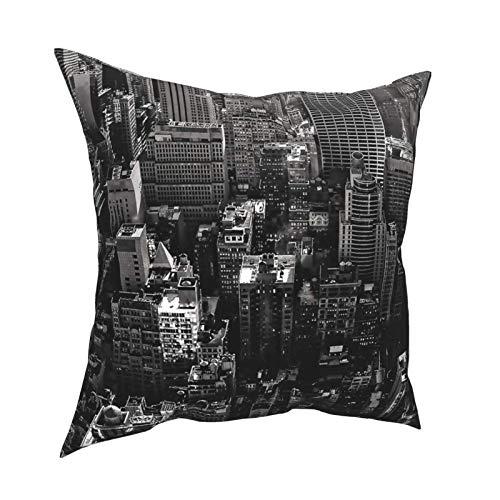 Funda de almohada Funda de cojín en blanco y negro de la ciudad de Nueva York Funda de almohada de lujo Funda de cojín Decoración decorativa para el hogar para sofá, dormitorio, sala de estar, 18 x 18