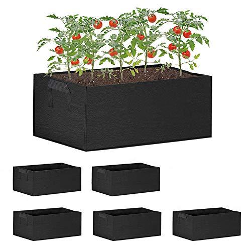AISENPARTS Borse da coltivazione Borsa in tessuto da 9 galloni Scatole per piante rettangolari Vasi da coltivazione con manici Adatti del suolo Fiori Verdure Frutta Giardino Interno Esterno