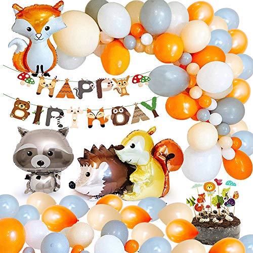 MMTX Decoraciones de fiesta cumpleaños animales, Woondland Banner de feliz...