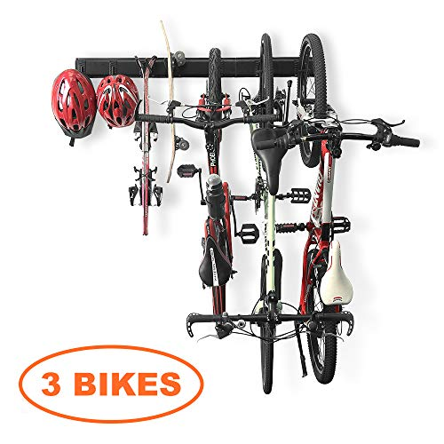 Bike Storage Rack Garage Hooks System Holds 3 Bicycles Wall Mount Vertical Hanger