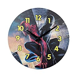 N /A Wall Clock 12 inch Modern Minimalist Design Spider-Man Children's Room Mute Cartoon Home Battery-Powered Mute Simple Home Living Room