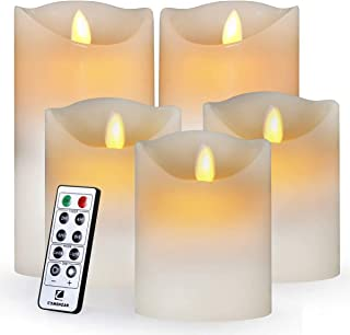 """Best Comenzar Flameless Led Realistic Moving Set of 5(H4 4"""" 4"""" 6"""" 6"""" xD3.25) Flickering Candles Battery Operated Candles with Remote Timer Review"""