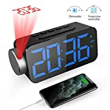 GlobaLink Projection Alarm Clock, Ceiling Digital Clock with Adjustable Brightness for Screen