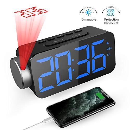 GlobaLink Projektionswecker [6.5 Zoll LED-Anzeige] Digital Wecker Projektionsuhr mit Snooze-Funktion FM Radio USB-Anschluss (Blau) und 3 Helligkeit Rote Projektion Ziffer 180° Projektionsanzeige
