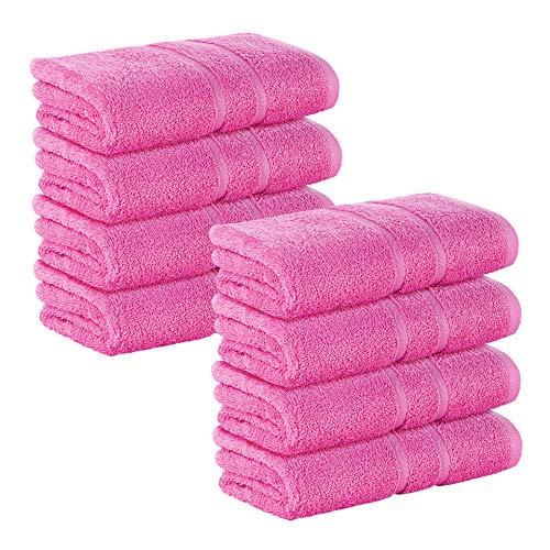 8 Stück Premium Frottee Handtücher 50x100 cm in pink von StickandShine in 500g/m² aus 100% Baumwolle Öko-TEX Standard 100 Materialien