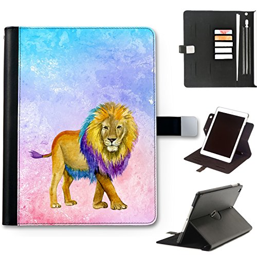 Lion Cat Case For iPad 8 (2020) (8th Gen) 10.2 inch, Watercolour Art Print leather iPad Case, side flip wallet case, 360 swivel folio cover