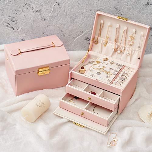 Joyero de viaje con 2 cerraduras de cajón para anillos, pulseras, pendientes, collares, regalos internos, de terciopelo, los mejores regalos para las mujeres (polvo)