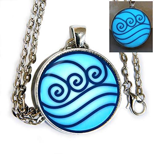 Avatar The Last Airbender Water Tribe inspired symbol GLOW IN THE DARK - Katara - pendant necklace - HM