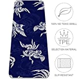 LEVEIS Yoga Mat Oriental Phoenix On Blue Thick Non Slip Exercise Workout Mats for Home Gym Floor Travel