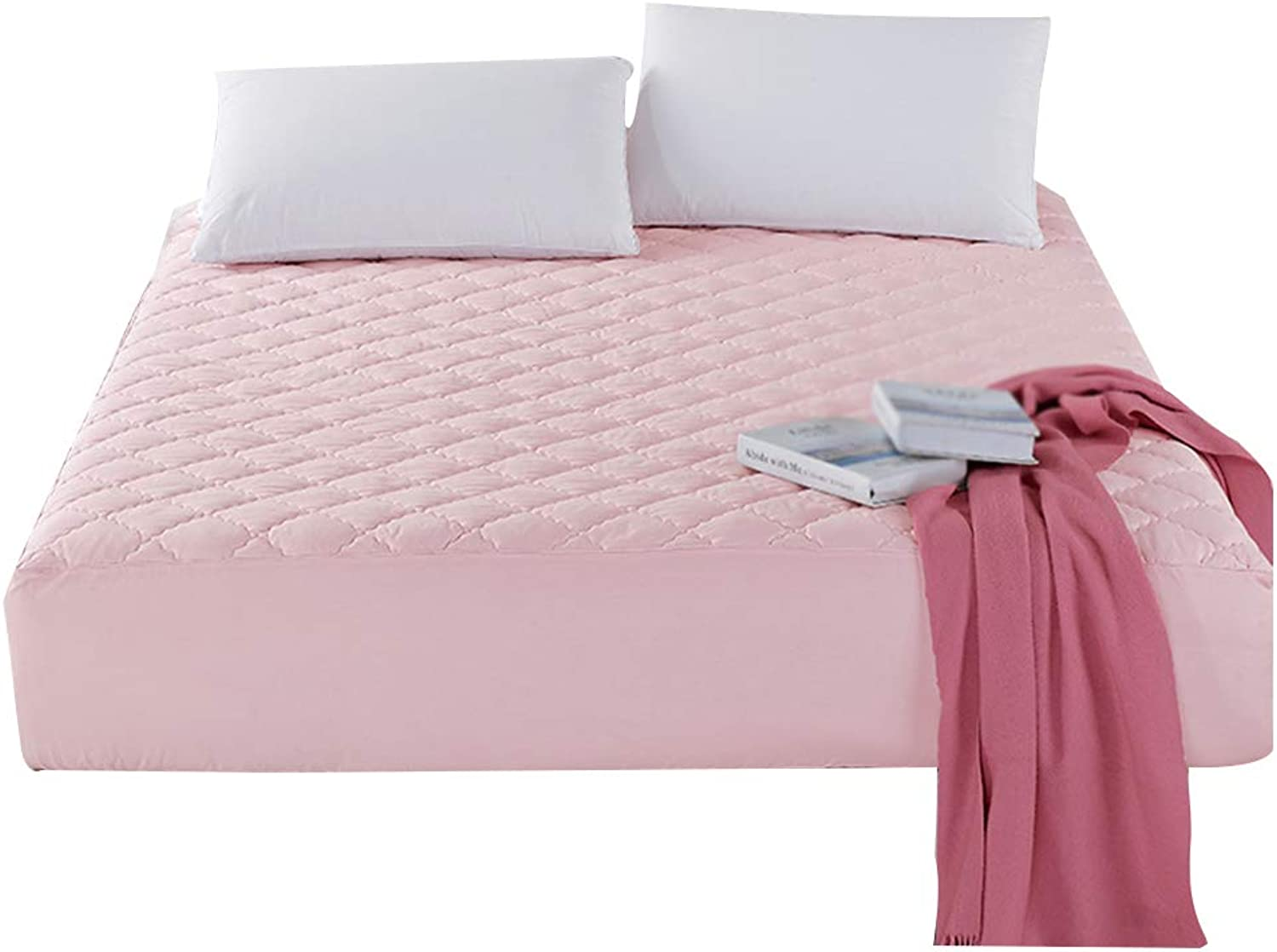 ZHAOHUI Mattress Predector Cotton Breathable Fiber Quilted Non-Slip Hypoallergenic Soft Skin-Friendly, 4 colors, 9 Sizes (color   Pink, Size   120 x 190 cm)