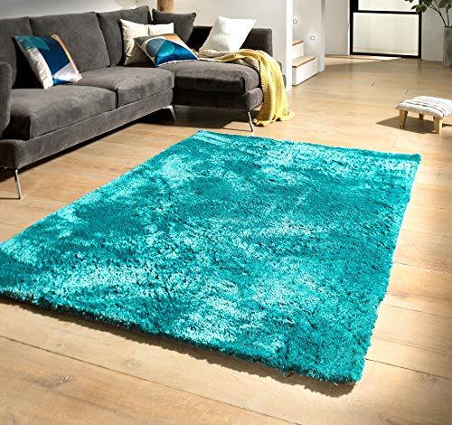 Flycarpets - Curaçao – Tapis à poils longs – 140 x 200 cm – Bleu pétrole – Intérieur – Design ondulé – 100 % polypropylène – Rectangulaire