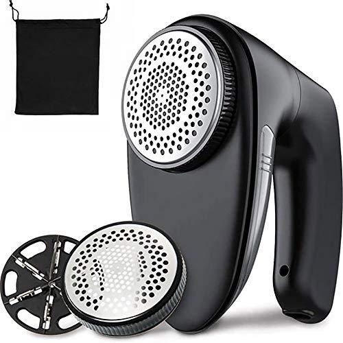 GGFHH Afeitadora Telas para Quitapelusas- Desempañador de Telas Mejorado Eliminador de Pelusas Eléctrico Recargable con Protección Doble -2 Cuchillas Reemplazables de 6 Hojas