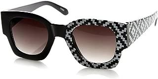 Half Print One Side Graphic Bold Rim Square Horn Rimmed Sunglasses (Native-Print)