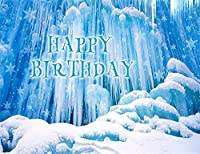 ZPC雪氷世界氷河お誕生日おめでとうテーマ冬ビニール写真の背景クリスマス新年パーティーの装飾バナー子供写真スタジオ小道具背景7X5FT