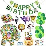 Happy Moment decoration Dschungel Deko ,geburtstagsdeko Jungen, Safari Tier für Kinder,Party-Set Tiere, pappteller Kindergeburtstag , Partyset Kindergeburtstag, Kindergeburtstag deko