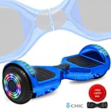 DOC Electric Hoverboard Self-Balancing Hoover Board with Built in Speaker LED Lights Wheels UL2272 Certified (Chrome Blue)