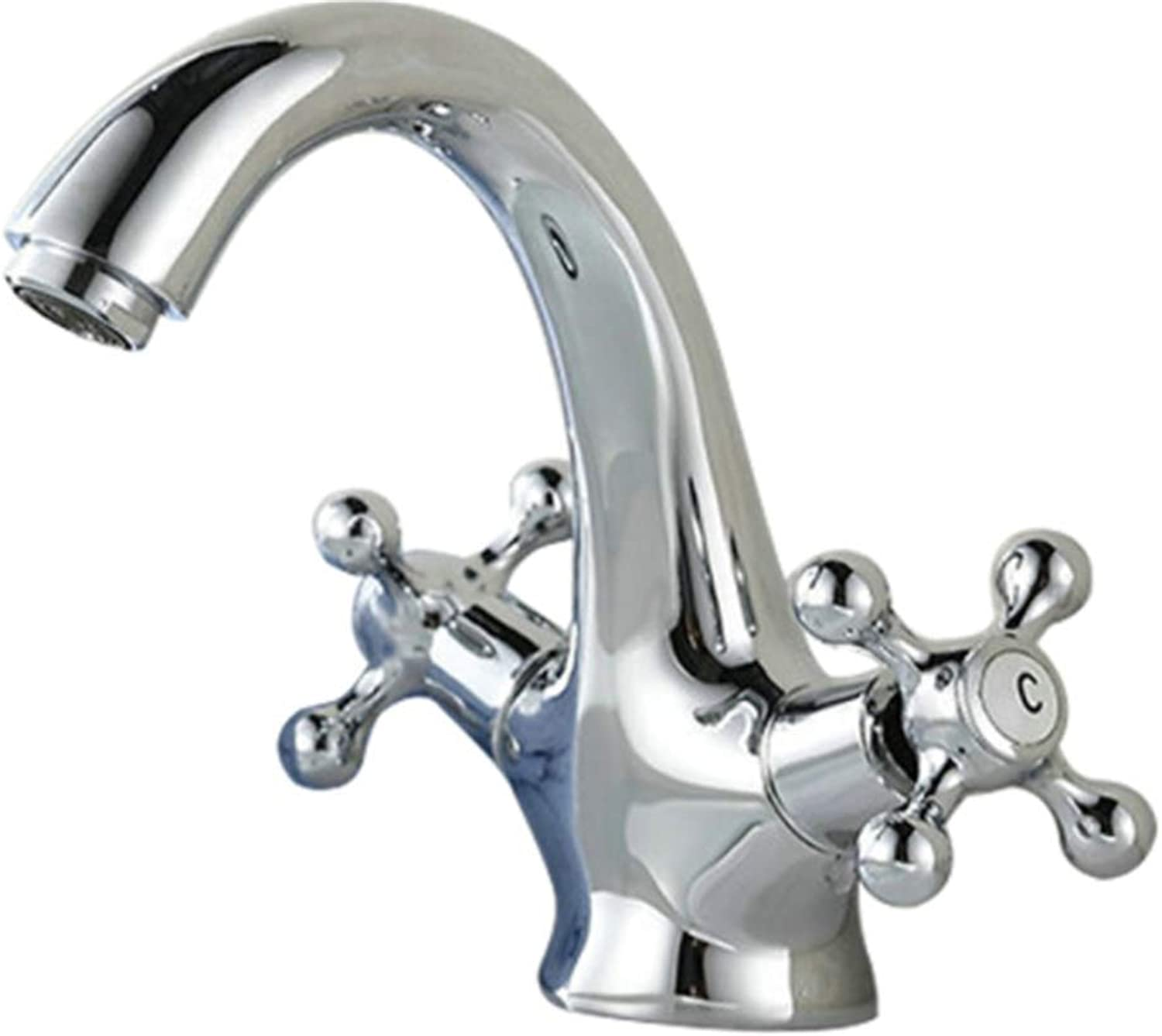 Taps Kitchen Basin Bathroom Washroomsilver Bathroom Faucet Dual Handle Vessel Sink Mixer Tap Hot and Cold Separation Switch