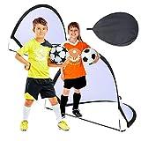 Suny Smiling Red de entrenamiento de fútbol para niños, portería de fútbol desplegable para niños, dos redes de fútbol portátiles con bolsa de transporte